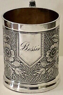 Antique 1890 TUFTS Silver Plate SilverPlate BESSIE Floral Childs Handled Mug Cup
