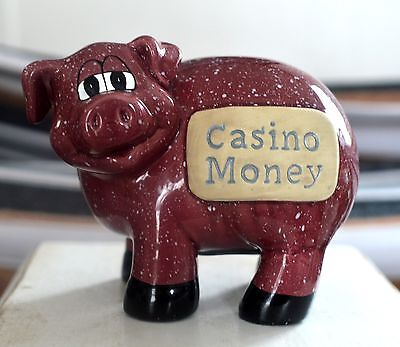 Casino Money Piggy Bank Speckled Burgundy Ceramic Pig Coin Figurine