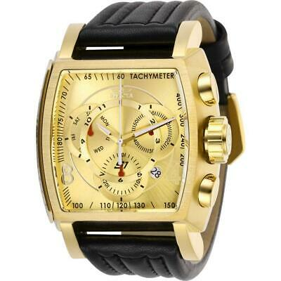 Invicta S1 Rally 27949 Men's Gold-Tone/ Black Genuine Leather Chronograph Watch