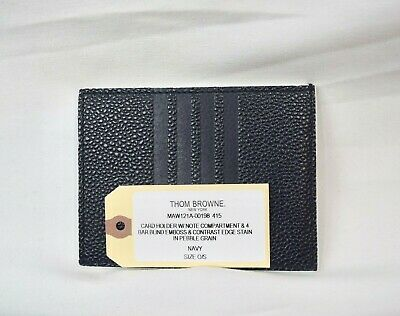 $480 NWT New Thom Browne 4 Bar Navy Card Case Leather Authentic