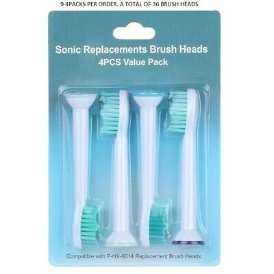Sonic Replacements Brush Heads 4 Pcs Compatible with P-HX-6014- (9 PACKS OF 4)