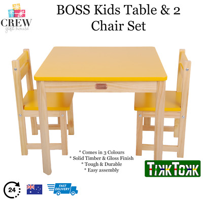 NEW Kids Eating Table and 2 Chair Set Toddler Wooden Square Play Draw Paint