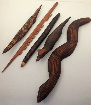 A selection of 5 vintage Aboriginal hand made carvings Central Australia