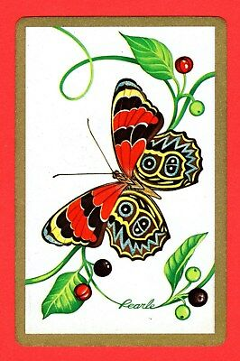 1 Single VINTAGE Playing/Swap Card ANIMALS BUTTERFLY BERRIES Artist PEARLE A6