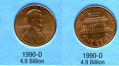 1990 D ABE Lincoln Memorial AMERICAN PENNY 1 CENT US U.S AMERICA ONE COIN #B1