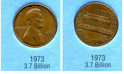 1973 P ABE Lincoln Memorial AMERICAN PENNY 1 CENT US U.S AMERICA ONE COIN #B2