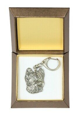 Briard Keychain in a Box, Silver Plated Key Ring UK 2716