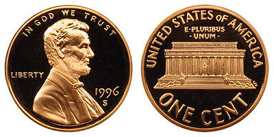 1996 S GEM BU PROOF Lincoln Memorial  PENNY BRILLIANT UNCIRCULATED US 1 COIN PF