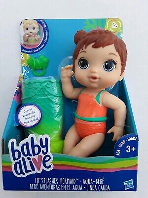 Baby Alive Lil' Splashes Mermaid Doll - It Floats!  Brunette  Water Fun