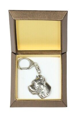 Cane Corso Keychain in a Box, Silver Plated Key Ring CA 2714