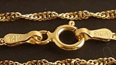 14 Karat White Gold SIngapore Chain 1.3mm NEW solid Italian necklace 4664