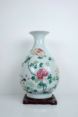 A Famille Rose Pear Shaped Vase with Stand
