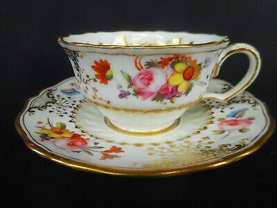 Antique  Hand Painted ~   Coalport Coffee Cup/Saucer ~ Pattern 966 - Beautiful!