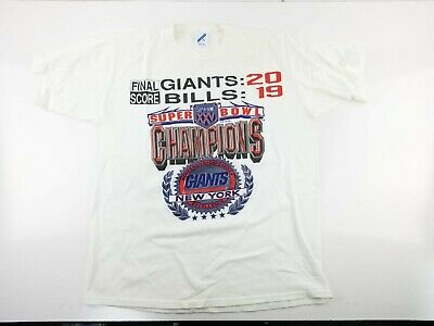 Super Bowl XXV New York Giants vs Bills Champions Final Score T-Shirt XL 46 1990