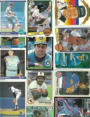 13 - Card HALL OF FAME Baseball Lot From 1982 to 1985 w Carlton; Rice; Molitor