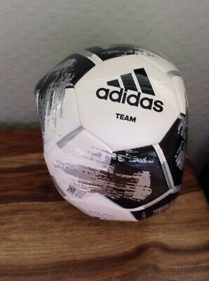 Adidas Team Glider White Black Padded Leather Size 5 Soccerball Football NEW
