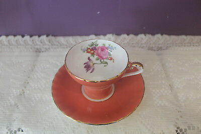 Aynsley Orange Corset Shaped Tea Cup And Saucer Floral Bouquet Inside Tea Cup