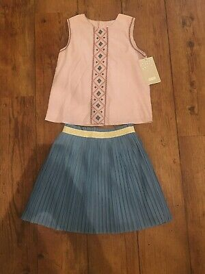 BNWT Mamas & Papas Outfit 4 Years Skirt Pleated Top Embroidered