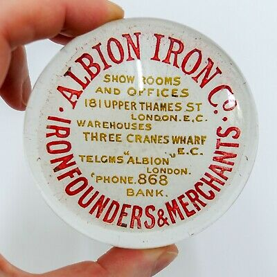 Antique Advertising Glass Paperweight Albion Iron Victorian Era City Of London