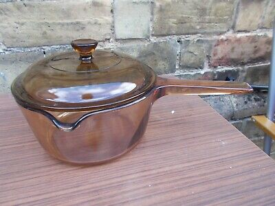 Vintage Corning Vision 16cm 1.5 Litre saucepan with lid Amber Glass