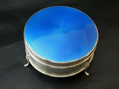 Rare Solid Silver Antique Guilloche Enamel Dressing Table Box, Bir 1929 Art Deco