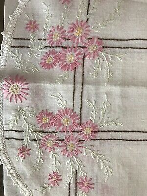 Vintage Pink Flowered Table Runner Or Dresser Scarf Embroidered Floral