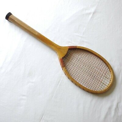 """A vintage Royal Sport """"Match"""", wooden tennis racket with original strings"""