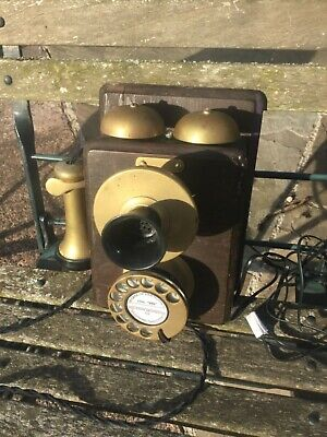 GPO  Wooden & Brass + Bakelite Wall Mounted Telephone  No 1 working