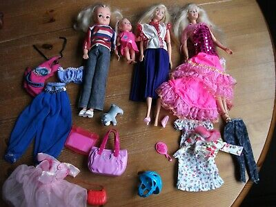 2 BARBIE DOLLS & 1 SINDY clothes & accessories also  SMALL DOLL (see pics)