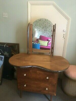 1950s wooden dressing table kidney shape with curtains to match