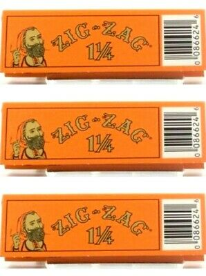 3 Packs Zig Zag Orange 1 1/4 Rolling Papers Slow Burning Best Price!