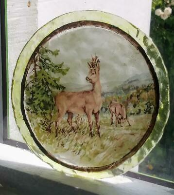 Stained Glass - Roe Buck Deer vintage roundel Kiln fired transfer painted rare