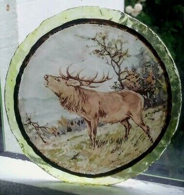 Stained Glass - Stag hunting vintage pane Kiln fired  rare piece ROUNDEL