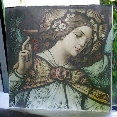 """Stained Glass -"""" Woman """" Kiln fired.transfer piece semi translucent"""
