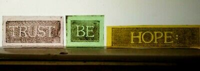 "Stained Glass "" Trust Be Hope ""  inscription Kiln fired.painted pieces old glass"