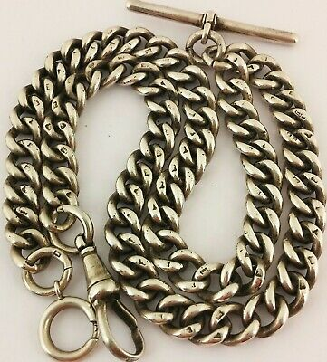 c1869 LONG ANTIQUE SOLID SILVER DOUBLE ALBERT POCKET WATCH CHAIN 18 INCHES