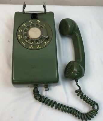 Vintage Western Electric Bell System Green Rotary Wall Telephone
