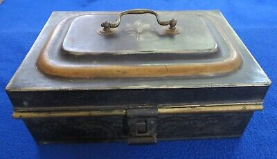 Antique Black w/ Gold Stencils Toleware Metal Document Box with Handle and Clasp
