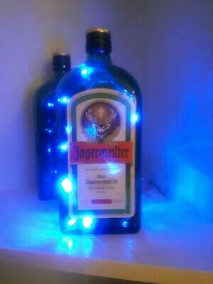 Glass Bottle LED Light Lamp Jagermeister Alcohol Quirky Upcycle Bar