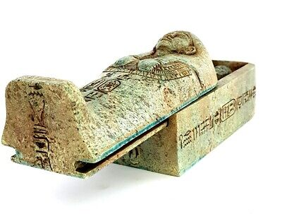 Egyptian Antique Coffin Ushabti Statue Bead Mummy Figurine Stone & Hieroglyphics