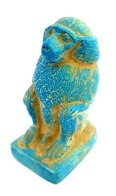 Rare Ancient Egyptian Baboon Monkey Figurine Unique Antique Stone Faience