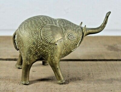 Antique Vintage Solid Brass Baby Elephant Weird Tusked Creature! Far Eastern