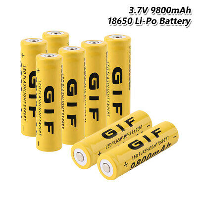 GIF 18650 Battery Rechargeable 3.7V 9800mAh Cell For Flashlight Torch 8Pcs 3538