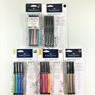 Faber-Castell Lot Of 5 Pitt Artist Pens Sets Essential Black Lettering Writing