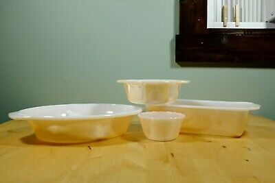Vintage Anchor Hocking Fire-King Peach Luster Oven Set w/ Casserole Divided Dish