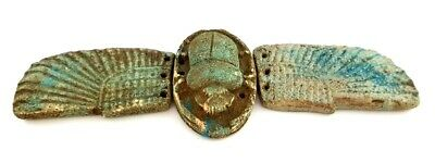 Unique Winged scarab Ancient Egyptian Antique Stone Rare Beetle Amulet Very Rare