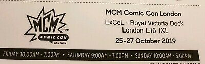 2 X Tickets MCM ComicCon London 25-27 October