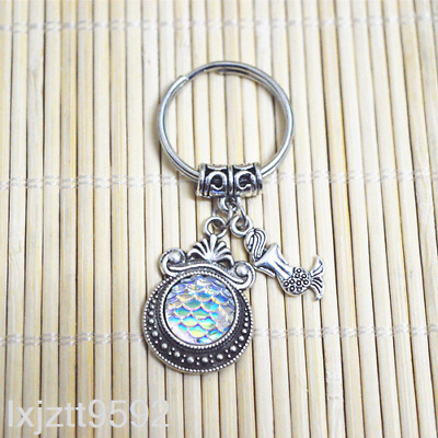 WHITE AB Mermaid keychain, bagcharm zipper bag charm Fish scales party favors#*