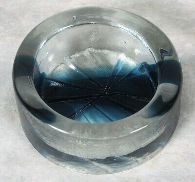 Vintage Heavy Glass Cigar Ashtray Clear Blue Striations Scandinavian Art Glass