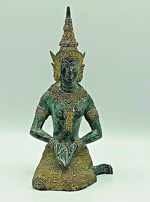 Antique Finely Detailed Chinese Tibetan Bronze Meditating Buddha Figure Statue